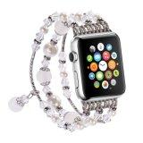 Moda elástica artesanais Pearl bracelete de Pedra Natural as mulheres de substituição Meninas Iwatch bandas de fita para Apple assistir
