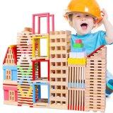 Os blocos de apartamentos de madeira das crianças ajustaram brinquedos educacionais da inteligência do presente do Natal