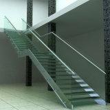 Escalera comercial con la pisada del vidrio Tempered del larguero del acero inoxidable