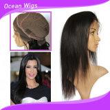 7A Virgin 브라질 머리, 20inch 똑바른 레이스 가발은, 정면 가발을 끈으로 묶는다