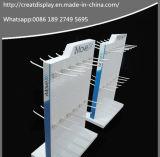 Visualización giratoria clara de acrílico de la tapa contraria del lucite con los ganchos de leva