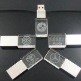 Luxuxkristall USB-grelle Platte-Fahrer-transparentes kundenspezifisches Firmenzeichen 8GB LED grelles Pendrive