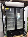 1200 리터는 맥주를 위한 유리제 문 냉장고 냉장고를 위로 서 있다