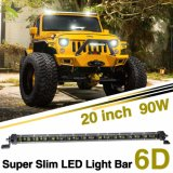 vente en gros simple mince superbe DEL de véhicule de l'aurore de rangée de volt de pouce 90W12 de 6D 4X4 20 pilotant le guide optique tous terrains