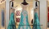 La promenade sexy del tessuto dei Sequins della sirena dei cristalli abbiglia il vestito da sera
