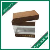 Petite caisse d'emballage de papier de chocolat avec le guichet clair de PVC