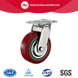 Platten-roter Polyurethan-industrielle Fußrolle mit Bremse
