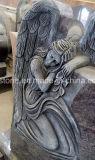 Bahamaの青い花こう岩の墓石を切り分ける美しい天使の彫刻