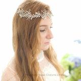 Мода Silver Pearl устраивающих головная стяжка Rhinestone ручной работы Свадебные аксессуары для волос украшения устраивающих Tiara Headpiece