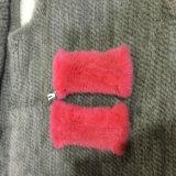 Трикотажные норки мех Mittens черный зимний мех кожаные перчатки меховые рукавицы