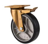 Spitzenplatten-Schwenker-Aluminiumkern-Gummihochleistungsfußrolle mit doppeltem Kugellager