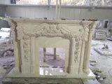 De witte Marmeren Afdekplaat van de Open haard van de Steen/van het Kalksteen/van de Travertijn/Open haard met Grote Gravure