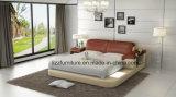 Кровать самомоднейшей спальни реальная кожаный мягкая с СИД