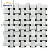 Использованием мозаики Waterjet плитки Oriental белого каррарского мрамора Basketweave мозаики