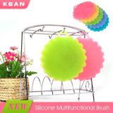 O lavagem de limpeza do silicone da flor de cinco cores esfrega a escova