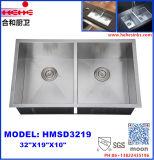 Lavatório duplo personalizado dissipador cozinha artesanal em aço inoxidável