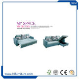 Самомоднейшая кровать софы угла ткани с хранением