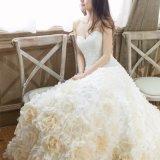 Flores gama alta vestido de casamento nupcial do trem de 2.6 medidores de comprimento