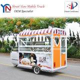 Três rodas que jantam carros do alimento do gelado do café
