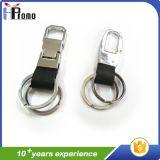 Preiswertes kundenspezifisches doppelte Ring-Leder-Schlüsselkette