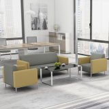 Il sofà di cuoio moderno imposta il sofà nero dell'ospite dell'ufficio