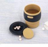 Tasse de café compressible de silicones de catégorie comestible avec la chemise et le couvercle étanche