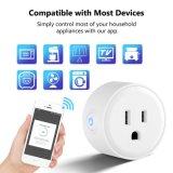 Mini-ficha smart WiFi, trabalha com Alexa e Google Home, Smart Home dispositivos que suportam o APP Controle remoto, a função de distribuição e protecção múltipla