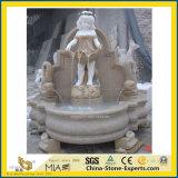 Statue en marbre blanc naturel Oudoor Pierre fontaine du jardin de l'eau (main/sculpté/Carving/Intérieur/Extérieur/bille/Landcaping/Musique/Dame/Ange/Sculpture/décoration)