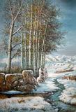 Pinturas a óleo paisagem de inverno neve Vista Florestal pintura a óleo