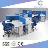 Estação de trabalho de escritório modular 5 Lugares da tabela de grupo com partições azul (CAS-W41211)