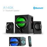 2.1 HiFi altavoz Bluetooth de madera con Control Remoto de luz LED de colores