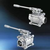Acero inoxidable de grado alimenticio Three-Piece soldadura manual de diseño de válvula de bola