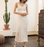 Les femmes élégant tricot longue blanc cassé Crochet réservoir robe MIDI