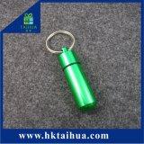 Bottiglia di pillola di alluminio da tasca impermeabile esterna del metallo di Keychain