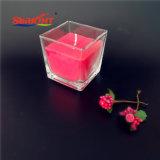 Normales freies Quadrat sortiert rotes Weihnachtsglaskerze mit Lorbeer-Aroma