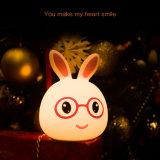 LED de luz nocturna de Lindos Niños Niños Conejo de silicona de 7 colores Lámpara de luz cálida iluminación recargable USB