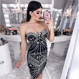 Cordon longueur genou noir bustier robe de bandage avec luxe Parti et Prom ou célébration