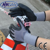 Nmsafety нейлон с покрытием черного цвета из пеноматериала нитриловые перчатки работы