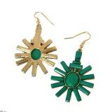 簡単な様式の緑の女性金カラーのためのアクリルの花の低下イヤリングはイヤリングをぶら下げる