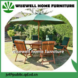 우산을%s 가진 옥외 가구 장방형 테이블 그리고 접는 의자