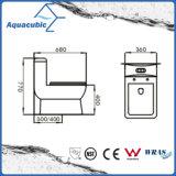 Sifónico de una pieza Dual Flush plaza delantera taza del inodoro (ACT8825)