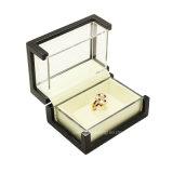 Коробка индикации ювелирных изделий кольца прозрачного акрилового окна деревянная