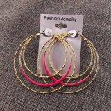 Boucles d'oreille rondes de cercle de mode plaquées par or d'émail de couleur de sucrerie grandes