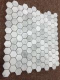 Italia blanco 1''hexagon mosaico de mármol, azulejos de pared