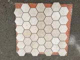 Azulejo de mosaico de mármol del hexágono de Crema Marfil