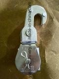 La polea de acero plateada cinc de Falt de la sola polea acanalada con Scissor el tipo gancho de leva