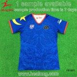 Healongの卸売の十分に昇華させた青いカラーチームロゴのワイシャツのラグビーのワイシャツ