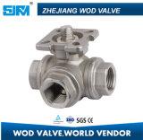 Válvula de bola de acero inoxidable de 3 vías con la norma ISO5211