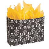 Compradores coloridos azul escuro e impressos personalizados sacos de compras impressos em papel Kraft