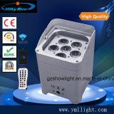 RGBW 4in1 ou 6in1 a luz lisa da PARIDADE da bateria do diodo emissor de luz DMX, PARIDADE operada sem fio da potência pode iluminar-se